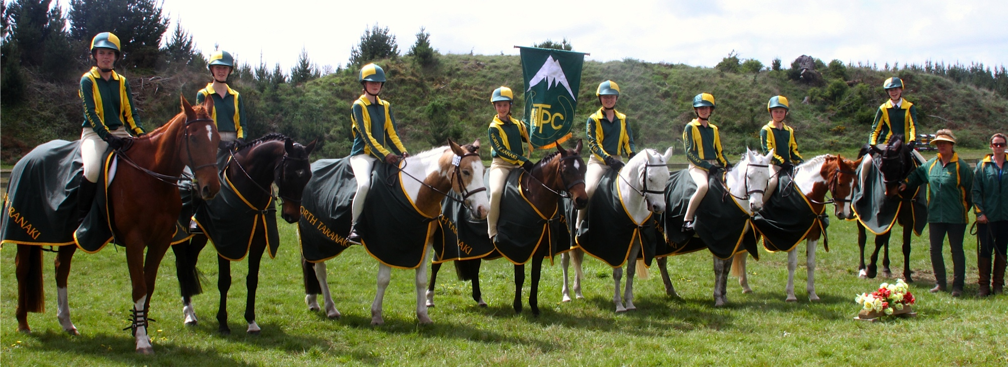 TARANAKI SUCCESS: Representing North Taranaki the Huntaways team of C Herbert (left), V Berrie, A Spurway, S Megchelse, S Henderson, O Thompson-Booth, M Henderson, P Grayling and Coaches: H Marshall and L Quay won second place at the North Island Show Hunter championships. PHOTO: Supplied