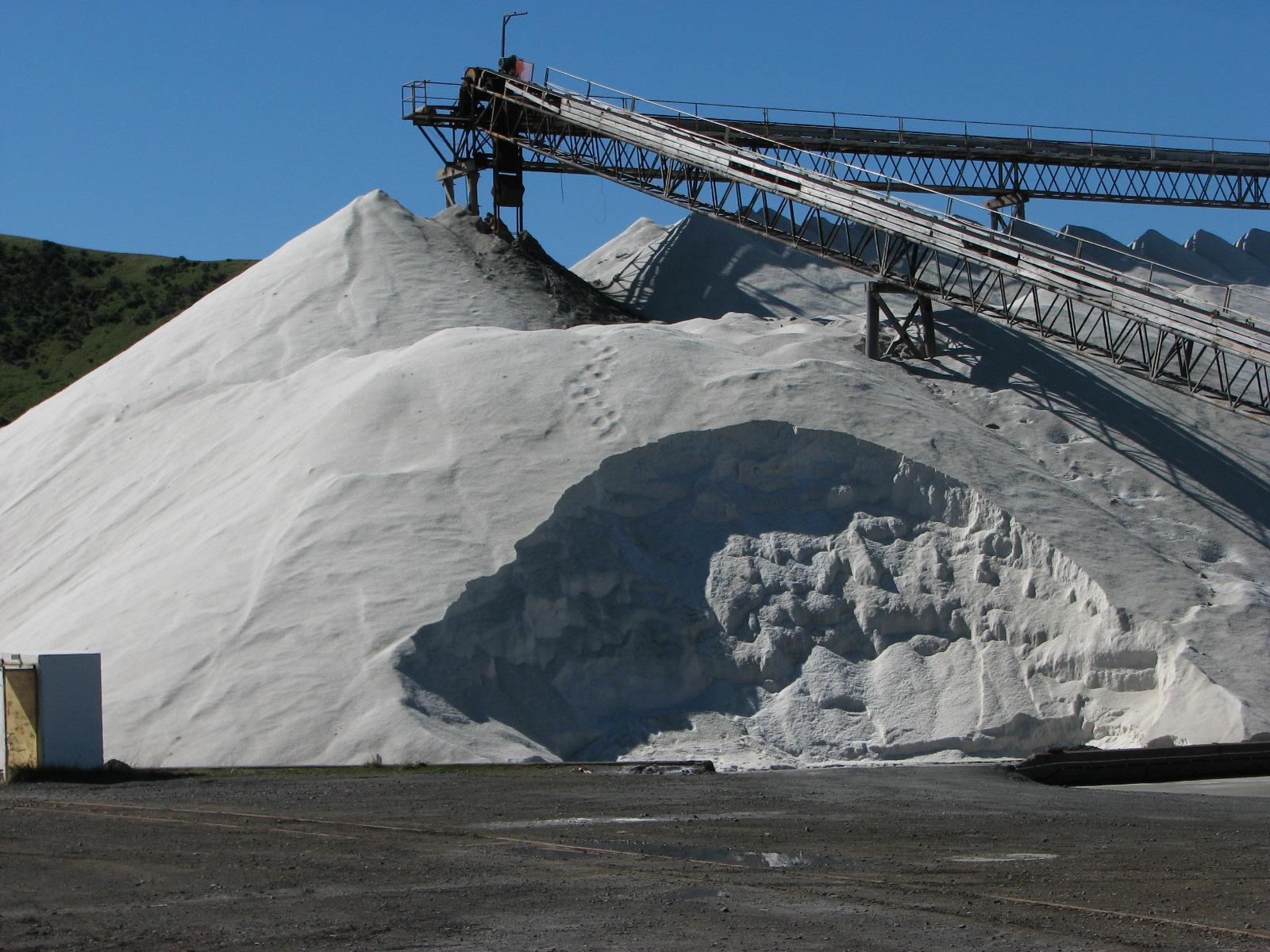 It is hard to imagine that you are looking at mountains of salt, but these small hills are salt at Lake Grassmere Salt Works