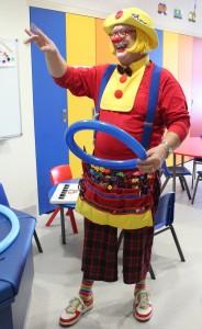 CJ the Clown busy at work entertaining on the Children's Ward at Taranaki Base Hospital.
