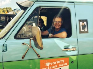 Suzy Cato takes control of the Mystery Machine – Photo by Jacqui Madelin